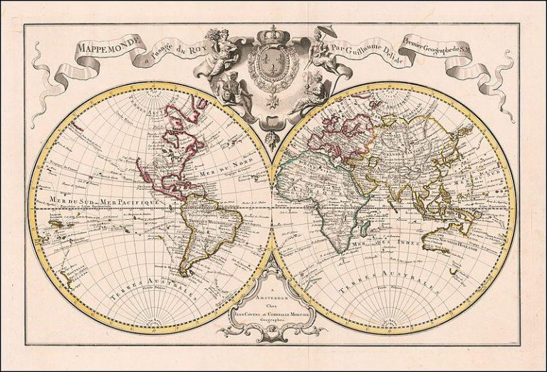World map with terra australis, Paris 1720