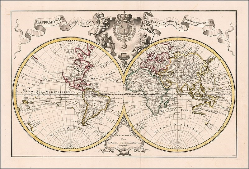 World map with terra australis, Paris 1720